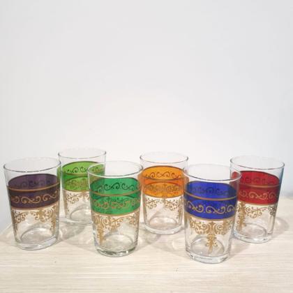 Set di bicchierini marocchini da tè ,in vetro, in sei colori diversi
