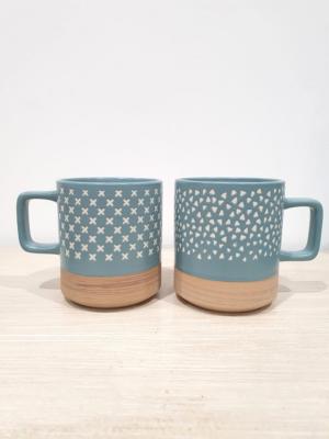 Set tazze in porcellana e terracotta