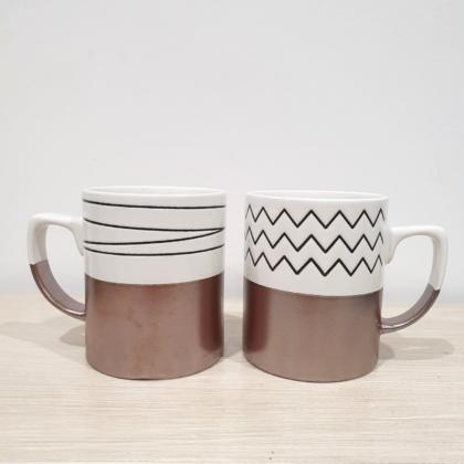 Set tazze in fine porcellana dipinte a mano con fondo laminato