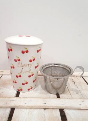 Tisaniera thermos in porcellana decorata con filtro in acciaio e coperchio salva aroma, decorata con ciliegie e scritta Cherry Time
