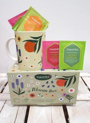 Tazza in ceramica decorata con motivi floreali e foglie, in box con 9 filtri tisana bio 3 Agrumi Di Sicilia 3 Fragole E Ibisco 3 Mandarino E Zenzero