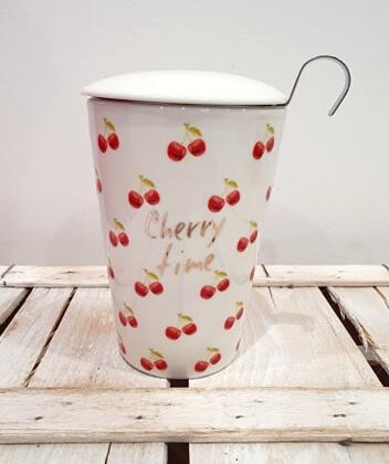 Tisaniera thermos in porcellana decorata, con filtro in acciaio massiccio e coperchio salva aroma, con motivo ciliegie e scritta Cherry Time
