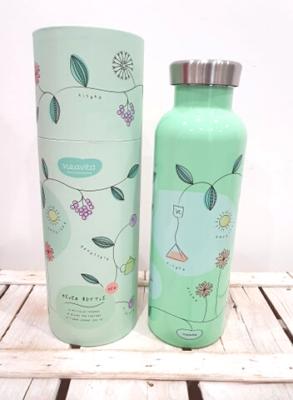 Bottiglia thermos in acciaio 500 ml con tappo ermetico, tiene le bevande in caldo 8 ore e in 12 ore, pratica e maneggevole, è ideale per inserire il filtro. Con motivi primaverili foglie e fiori.